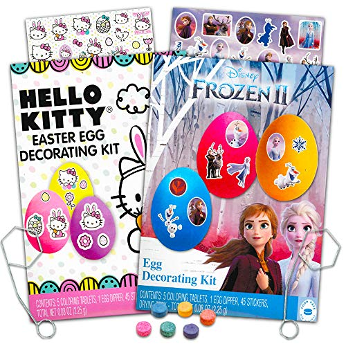 Disney Kit de decoración de huevos de Pascua – pegatinas, tabletas para colorear, Dippers y más (con Disney Frozen 2 favoritos y Hello Kitty)