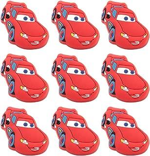 Skert, Boys and Girls Cartoon Red Lightning Car Furniture Drawer Pull Knob Cabinet Kitchen Handle Kids Bedroom Cabinet Dresser Knobs Pulls Pack of 10