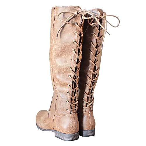 980e3eec9b4c Womens Laced-up Knee High Riding Boots Side Zipper Chunky Low Heel Faux Leather  Shoes