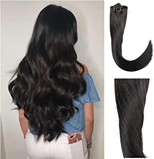 """Clip in Human Hair Extensions 20"""" 160 Grams #1B Natural Black 100% Brazilian Remy Human Hair Extensions 9A Thickened Soft Silky Straight 8pcs 20clips Full Head for Pretty Layies"""