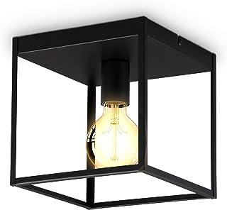 B.K.Licht I 1 lámpara de techo de jaula de fuego I enchufe E27 I metal I negro mate I jaula I lámpara de techo
