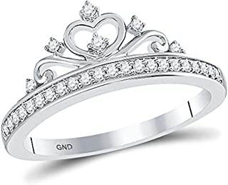 10K White Gold Womens Round Diamond Crown Tiara Fashion Ring 1/6-Carat tw