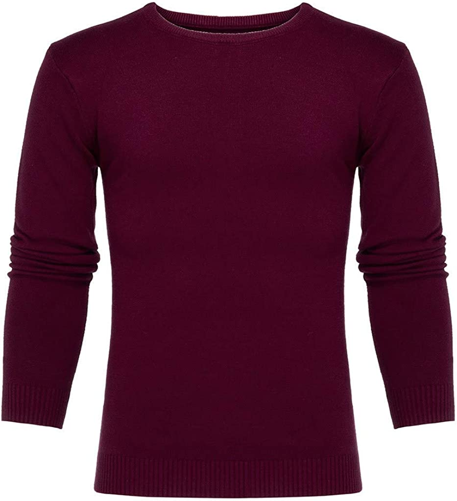 MODOQO Mens Sweater Casual Pullover Slim Fit Warm Soft Crewneck Knitwear