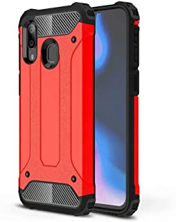 PICKQIU Case for vivo Y19, Heavy Duty Case,Shockproof Tough Armour Military Metal Case 360 Full Body Protective Case Cover for vivo Y19 Smart phone -red