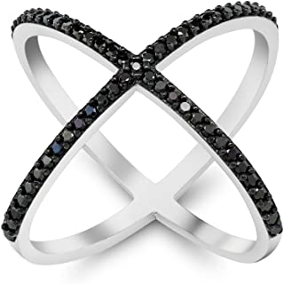 Black and White 925 Silver Cubic Zirconia CZ Criss-Cross Single inchesXinches Long Ring