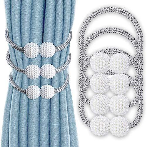 VEGCOO 4 Piezas Abrazaderas Magnética para Cortinas, Cordones de Sujeción Imán para Cortinas, Hebillas Cuerda de Perlas para la Decoración de la Ventana del Hotel Home Office (Gris)