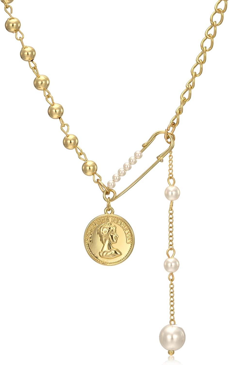 Y2K Necklace Coin Pendant Layered Necklace 18K Gold Plated Ball Splicing Chain Paper Clip Pearl Drop Fashion Y2k Choker Jewelry for Women Girl