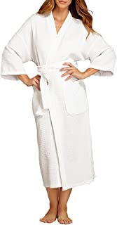 Monarch/Cypress Square Waffle Spa Kimono Robe - Soft Light Hotel Bathrobe