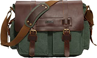 GLJJQMY Men's Retro Messenger Bag Shoulder Messenger Bag Handbag 9.7 Inch Laptop Briefcase, Multi-Color Optional, 35x30x10cm Briefcase (Color : Green)