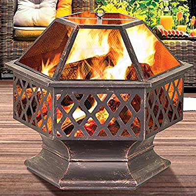 Vivo Technologies Large Fire Bowl Fire Pit For Garden Patio Heater Vintage Design Charcoal or Wood by 1 year