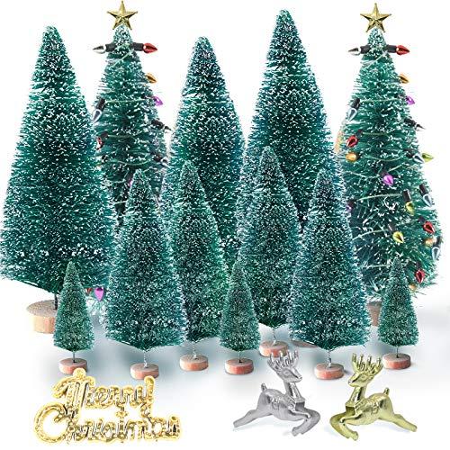 AYUQI 20 Piezas Mini Árbol de Navidad,Artificial Árboles de sisal en Miniatura Modelos de Diorama de Sisal en Miniatura, árboles para Manualidades, Manualidades Navideñas, Decoración de Mesa