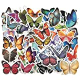 Color Butterfly Stickers, Waterproof Vinyl Sticker Pack 50pcs Decals for Laptop Scrapbooking Fridge Water Bottle Skateboard, Kids Room Armoire Wardrobe Decorations