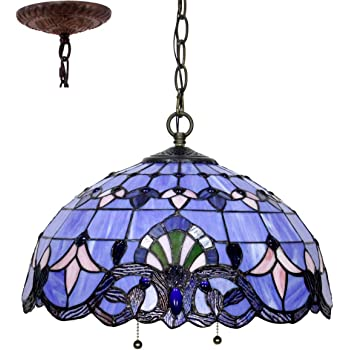 Amazon Com Tiffany Hanging Lamp 16 Inch Pendant Light Blue Purple Baroque Lavender Stained Glass Shade S003c Werfactory Chandelier Ceiling Fixture Dining Living Room Bedroom Study Office Coffee Bar Hallway Loft Home Improvement