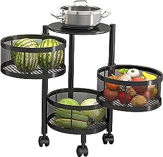 KMILE Étagère de rangement pour cuisine et légumes sur roulettes - 3 étages - En métal - Pour salon, salle de bain, buanderie