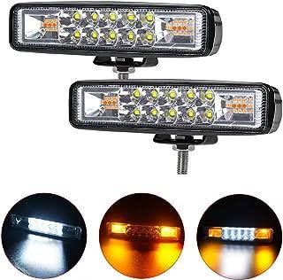 6 inch LED Light Bar Milight Dual Color Strobe Lights Led Pods Amber Off-Road Lights Flash Lights Driving Fog Lamps Yellow White Led Light Bar for SUV ATV Truck