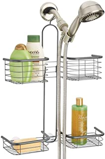 mDesign Metal Hanging Bath and Shower Caddy Organizer for Hand Held Shower Head and Hose - Storage for Shampoo, Conditioner, Hand Soap - 4 Shelf Format, Graphite Gray