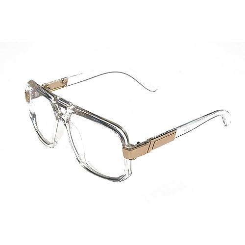 710f9efb21e4 V.W.E. - Classic Square Frame Plastic Flat Top Aviator Glasses w Metal  Trimming and Clear