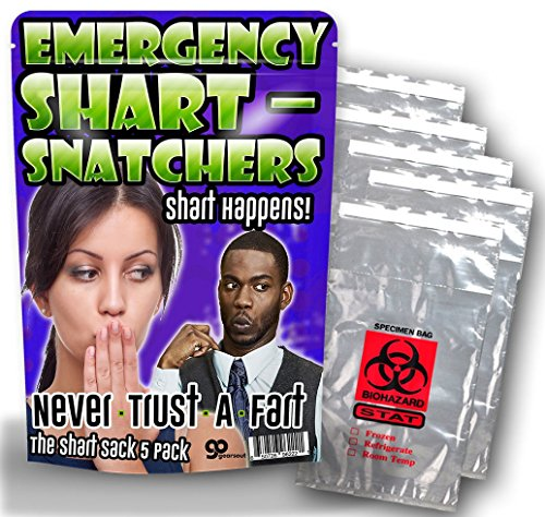 Emergency Shart Snatchers – 5 Pack – Funny Gag Gifts – Silly Gifts – Biohazard Bags – Gifts for Teens – Silly Stocking Stuffers - Funny Butt Gifts