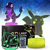 Luz Nocturna 3d Pikachu Anime Para Niños, Juguete Pikachu De 3 Patrones, 16 Colores Que Cambian Con Control Remoto, Regalos De Cumpleaños Para Niños y Fanáticos De Pikachu