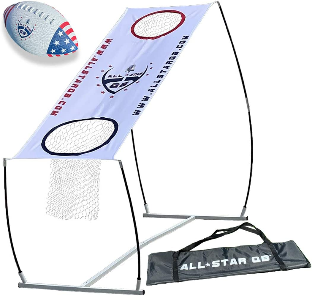 All Star QB LITE Football Throwing Net Game Set, Training & Practice Equipment -Easy Setup & Gameplay Ideal for Kids & Adults. Improves QB Throwing Accuracy. Perfect for Any Outdoor Games & The Beach : Sports & Outdoors