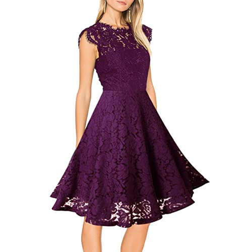 581267137cd Women s Sleeveless Lace Floral Elegant Cocktail Dress Crew Neck Knee Length  for Party