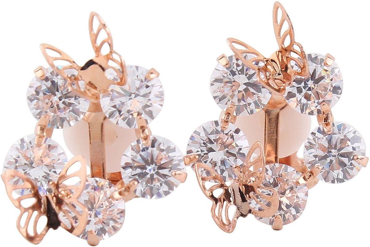Grace Jun Bridal AAA Cubic Zirconia Butterfly Clip on Earrings No Pierced Copper Plated 18K Ear Clip