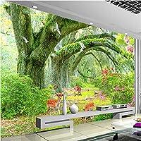 Iusasdz カスタム任意のサイズの壁画壁紙3D緑の森の木動物の壁布リビングルームテレビソファ背景壁画家の装飾-150X120Cm