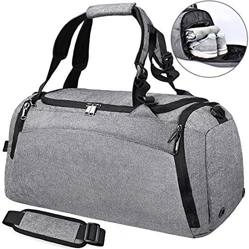 NEWHEY Bolsa Deporte Bolsa Gimnasio de Viaje Impermeable Bolsos Deportivos Fin de Semana Travel Duffle Bag para Hombre y Mujer Negro (Gris)