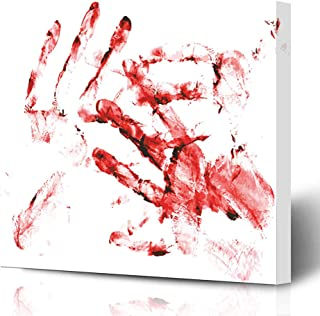 Ahawoso Canvas Prints Wall Art Printing 12x12 Red Page Blood Bloody Handprints Scalable Graphic Hand Finger Kill Murder Human Crime Killer Scene Painting Artwork Home Living Room Office Bedroom Dorm