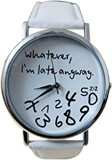 Lookatool Hot Women Leather Watch Whatever I am Late Anyway Letter Watches New