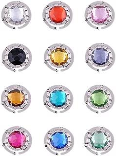 Purse Hooks, Set of 12 pcs Colorful Purse Hooks Crystal Diamond Folding Section Storage Handbag Hook Hanger Holder (12 pcs Mixed)
