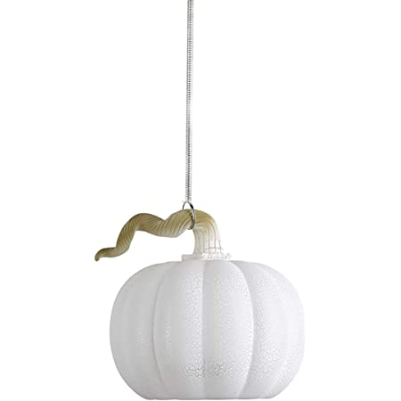 Anvehu Ornaments White Pumpkin Gourd Lantern Ornament Crackled Glass Design With Led Lights For Fall Autumn Halloween Thanksgiving Decorations Includes Removable Hanging Spiral Chain Home Kitchen
