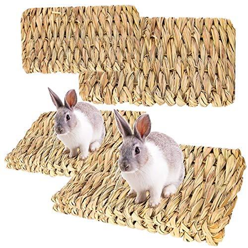 RoadLoo Kleine Haustier-Grasmatte, 4 Stück Natürliche Grasmatten Kleintier Sicher Essbares Grasmatte Gras Spielzeug Gewebte Tier-Kauspielzeug für Kaninchen Ratte Papageien Meerschweinchen Frettchen
