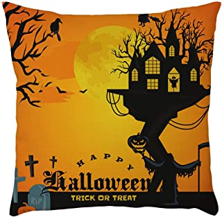 Halloween Square Cushion Cover Pillow Case Cover Home Bedroom Sofa Car Decor Pillow Cases Linen Pumpkin ghosts Cushion Cover Home Decoration