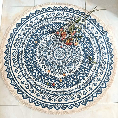 Concus-T Bohemian Round Rugs 90cm Machine Washable Hand-Woven Tassels Carpet Braided Circle Rug Chic Floor Mats for Living Room Bedroom Bathroom Sofa Coffee Table Swing Chair Bed Side, Navy Blue