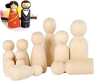 Peg Doll Legno AFASOES 50 Pezzi Bambola piolo di Legno Mini Bambole Gente di Legno Non Finita Femmina /& Maschio per Creazioni Artistiche e Painted