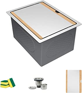 TORVA 14-Inch Workstation Undermount Kitchen Sink, 16 Gauge Stainless Steel Single Bowl Bar or Prep Sink with Stainless-steel Bamboo Cutting Board (14 x 19 x 10 inches)