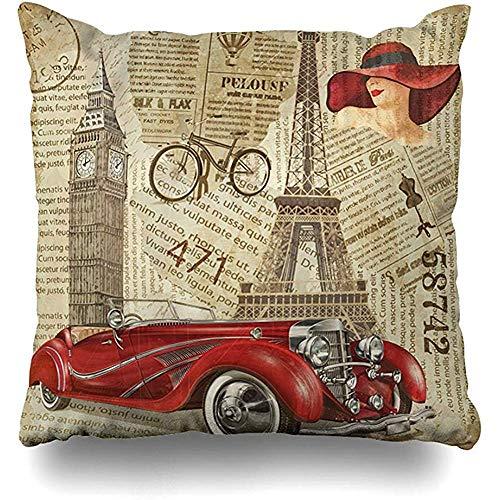 Fodera per cuscino per fodere per cuscino Vintage Paris London Torn Giornale invecchiato Auto Automobile Automotive Ben Materasso Tovaglia Prin 45X45Cm (18X18In)