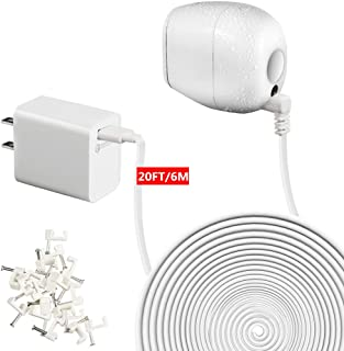 EaseBuy Power Charger Adapter and 20 Feet/6M Extension Cable Compatible with Arlo Pro & Arlo Pro 2 and Arlo GO,Weatherproof Outdoor/Indoor Arlo Cords - No Charging Needed