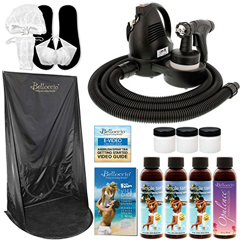 Belloccio Premium T75 Sunless HVLP Turbine Spray Tanning System; Simple Tan 4 Solution Variety Pack, Curtain, Cups, Accessories and Video Link