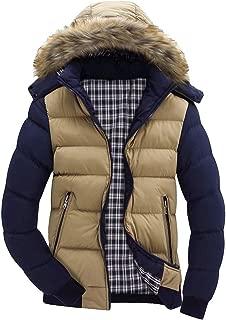 Men Boys Casual Warm Hooded Winter Zipper Coat Outwear Jacket Colorblock Top