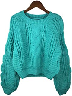 Light household Women Pull O Neck Yellow Sweater Jumper Candy Color Short Sweater