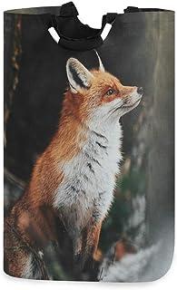 QMIN Panier à linge pliable avec poignée, motif renard rouge et forêt sauvage