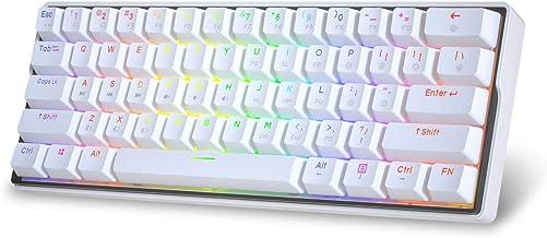 KEMOVE Snowfox Bluetooth 5.1 Wireless/Wired 60% Mechanical Gaming Keyboard - RGB Backlit 61 Keys Keyboard - Hot Swappable, PBT Keycaps, Full Keys Programmable - White (Gateron Mechanical Red Switch)