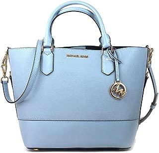 Trista Large Leather Grab Bucket Bag Purse - Pale Blue