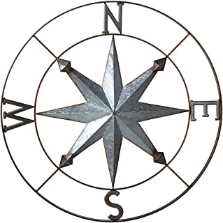 Galvanized Metal Wall Art Rose Compass - 30-in