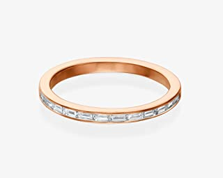 Diamond Wedding Band, Half Eternity Baguette Engagement Ring for Women, 0.2 ct. Natural Diamond, Handmade Thin Minimalist Affordable Jewelry in 14k/18k White, Rose or Yellow Solid Gold, 4-14US