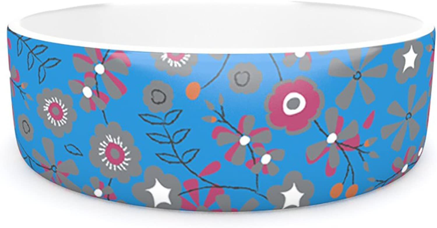 Kess InHouse Michelle Drew Meadow  Pet Bowl, 7Inch, Navy Paisley