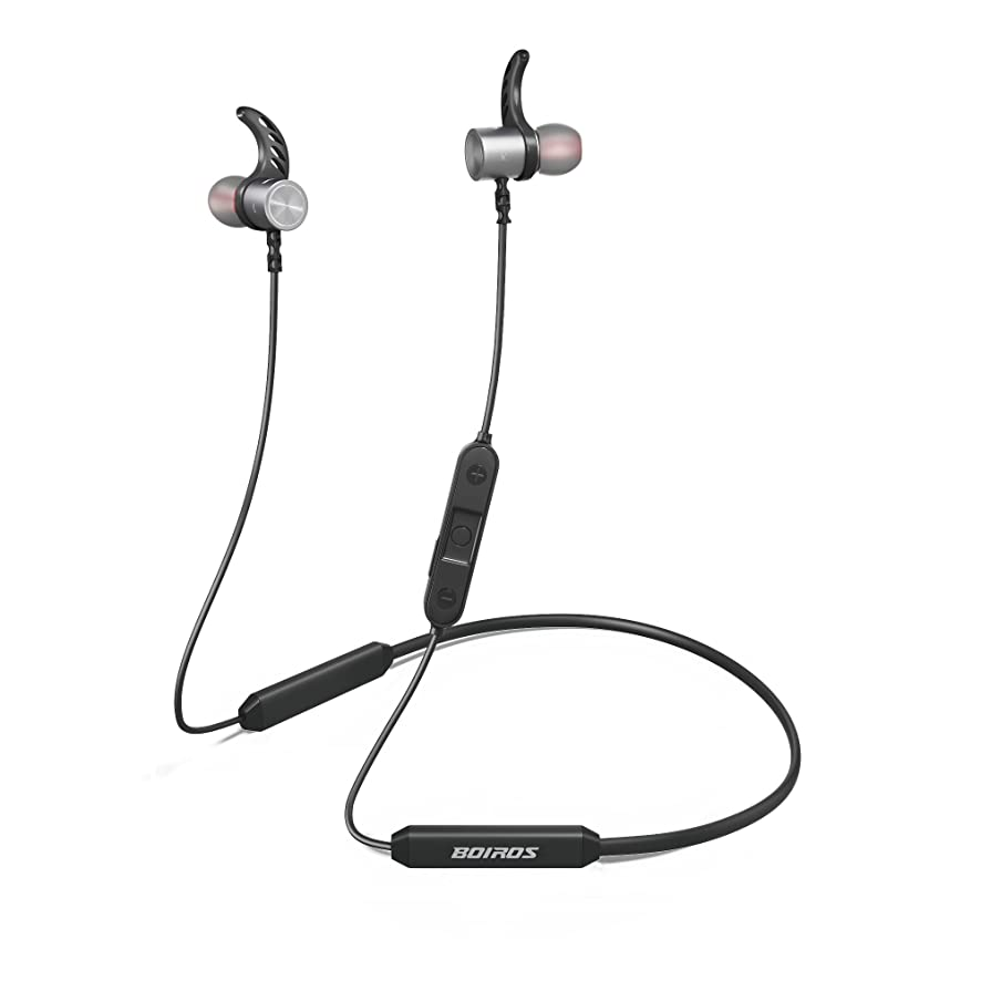 Bluetooth Headphones Sport, HiFi Stereo with Bass Wireless Earbuds with Mic, Noise Cancelling, Sweatproof, Waterproof Headset -BOIROS Magnetic Earphone for Running Gym Exercising 14 Hour Play Time
