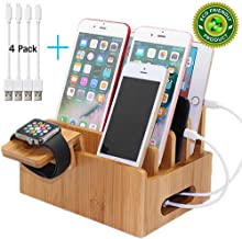 Bamboo Charging Stations for Multiple Devices, Desk Docking Station Organizer for Cell Phones, Tablet, Watch Stand (Includes 4 Cables BUT NO Power Supply Charger) Pezin & Hulin